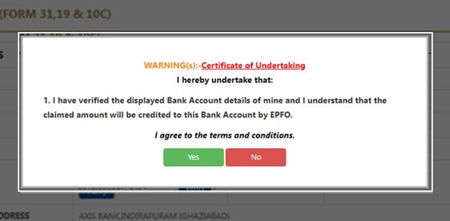 How To Withdraw Pf Amount Online - Certificate of Undertaking